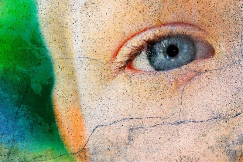 蓝色儿童眼睛 库存照片