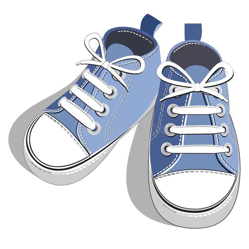 蓝色儿童运动鞋 库存例证