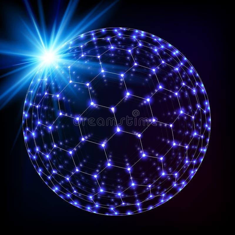 蓝色光亮的宇宙六角栅格光亮的球形 皇族释放例证