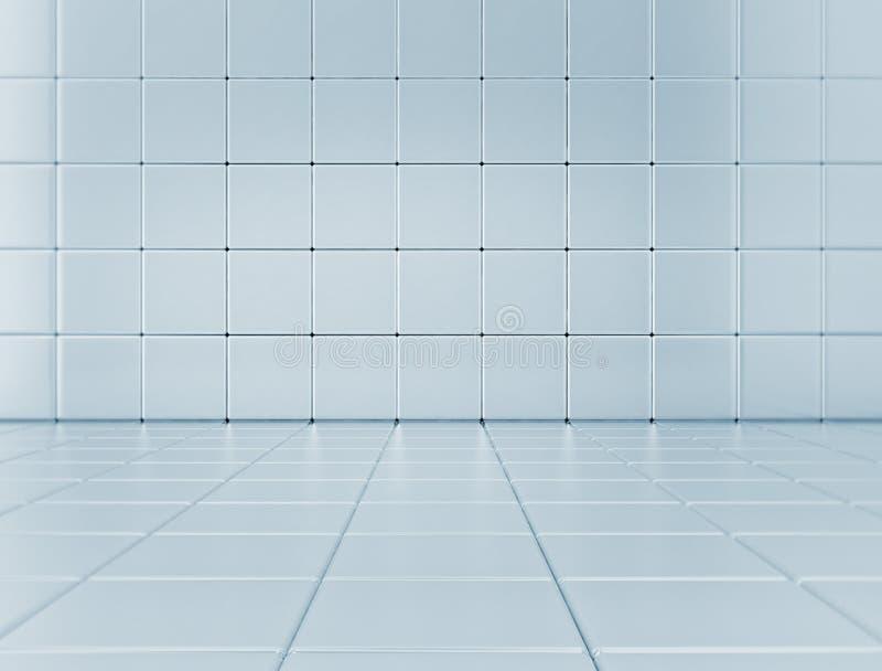 蓝色光滑的立方体背景 库存例证