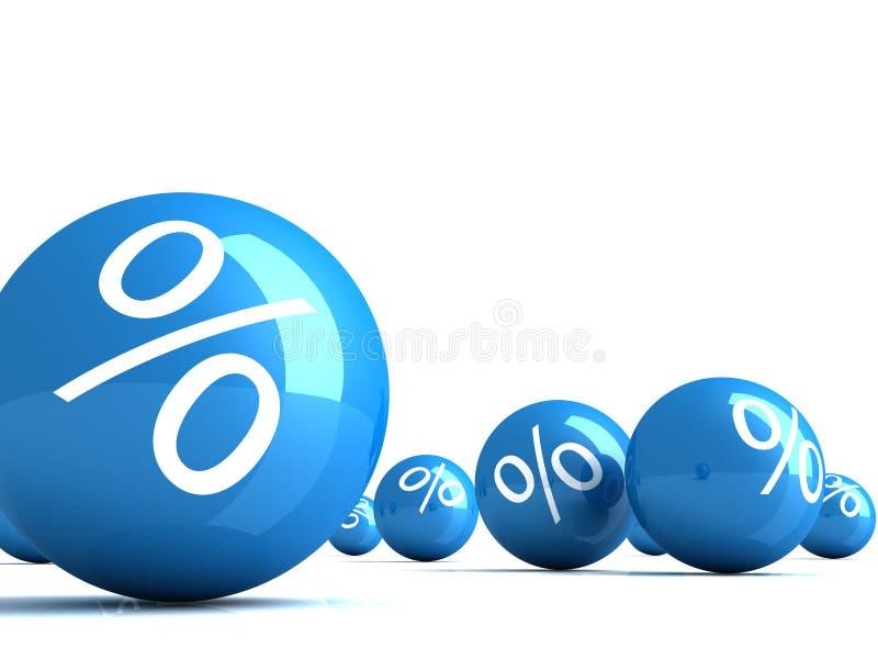 蓝色光滑许多百分号范围 库存例证