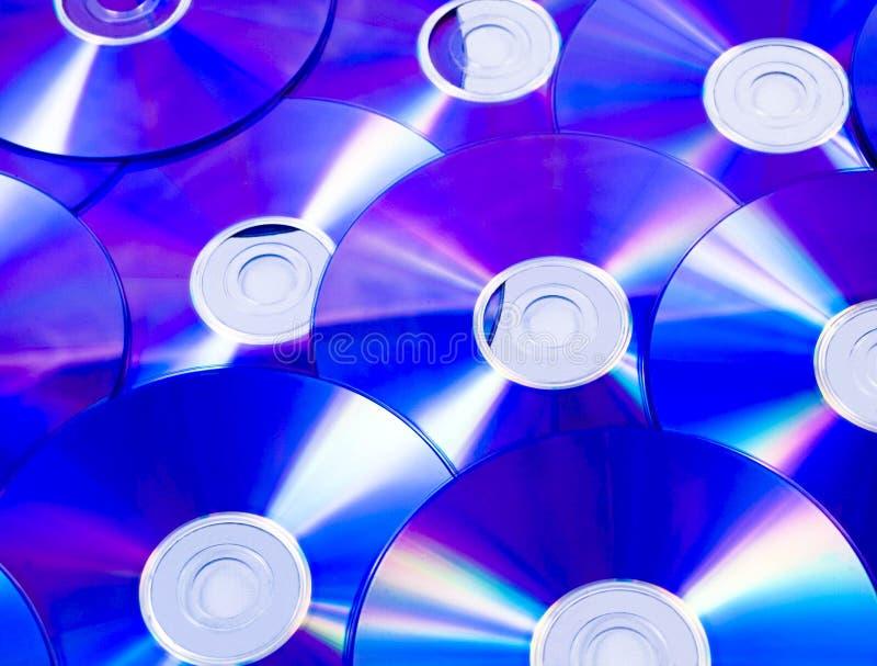 蓝色光盘dvd堆 库存图片