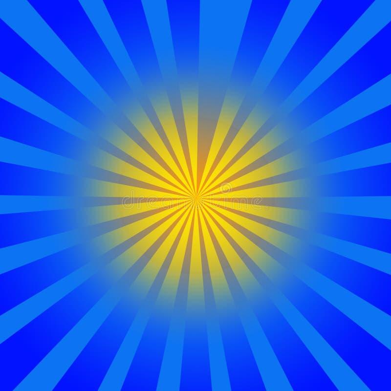 蓝色光芒黄色 皇族释放例证