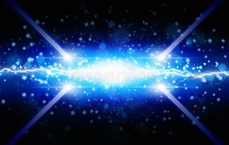 蓝色光闪光在黑背景,两的明亮的强有力的lig 免版税库存照片