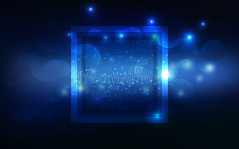 蓝色光,发光的作用霓虹框架标记,横幅装饰,技术抽象背景传染媒介例证 向量例证