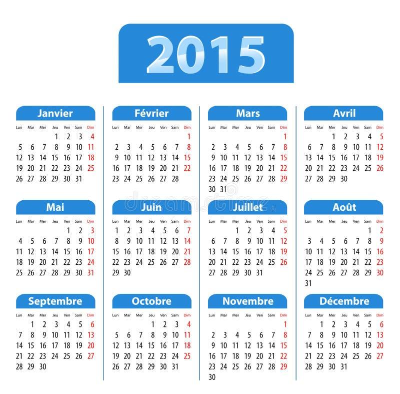 蓝色光滑的日历在2015年用法语 皇族释放例证