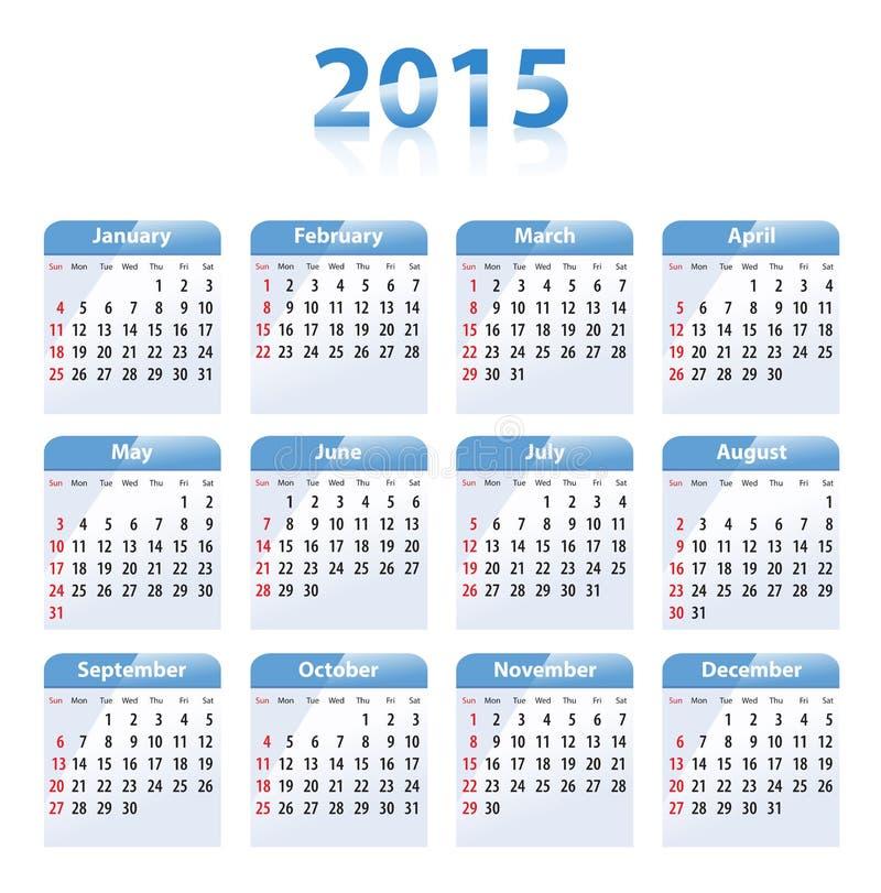 蓝色光滑的日历在2015年用英语 首先星期天 皇族释放例证