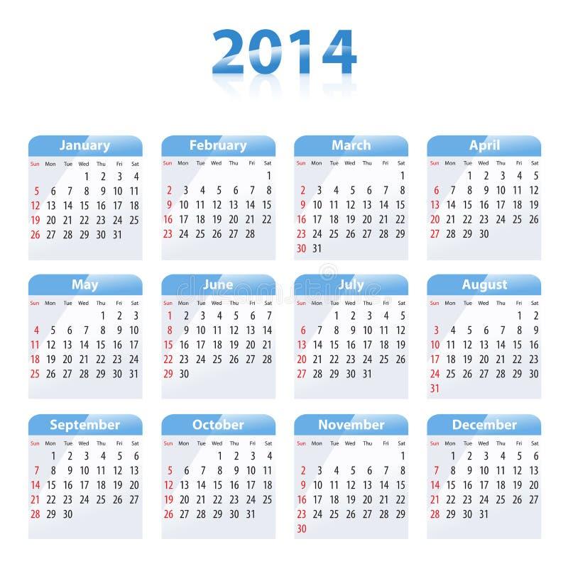 蓝色光滑的日历在2014年 皇族释放例证