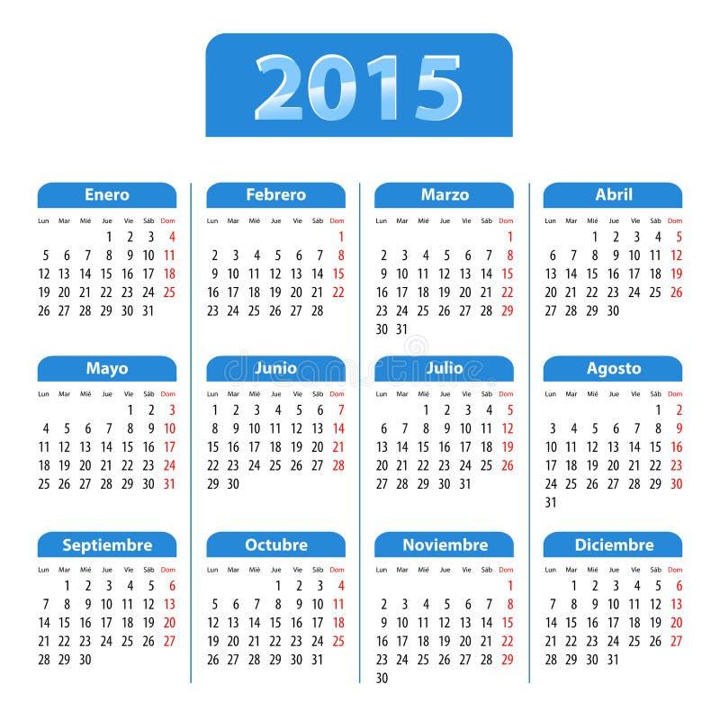 蓝色光滑的日历2014年用西班牙语 向量例证