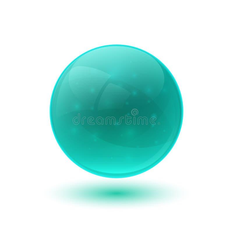 蓝色光滑的玻璃球形 库存例证