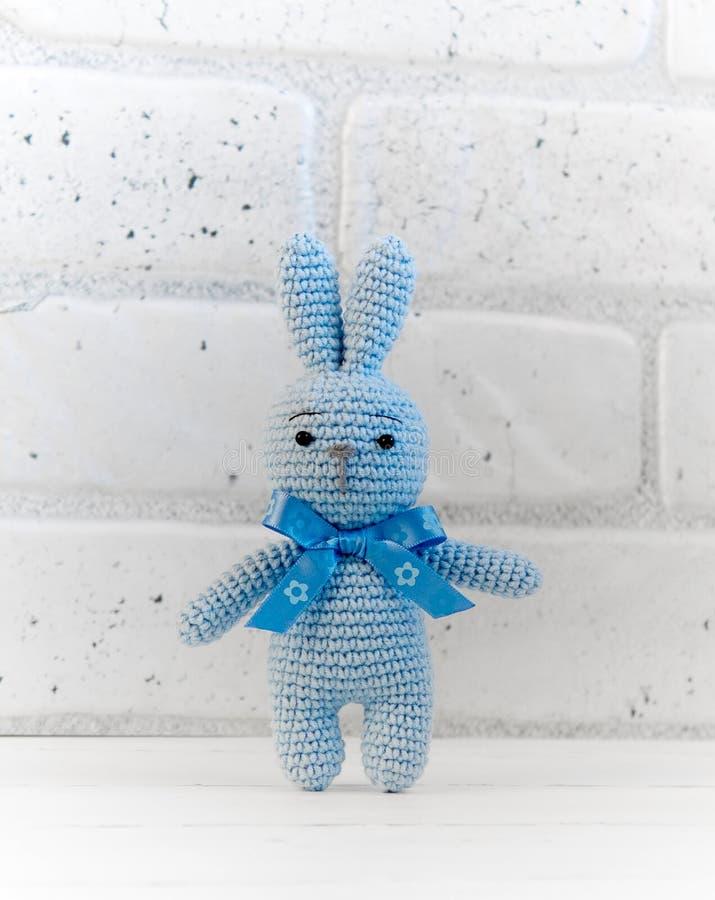 蓝色兔宝宝立场 免版税库存照片