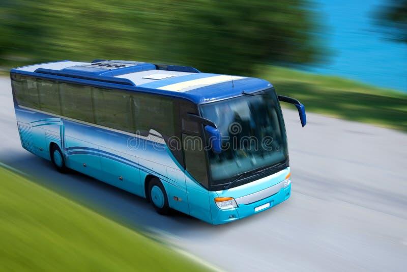 蓝色公共汽车 库存照片