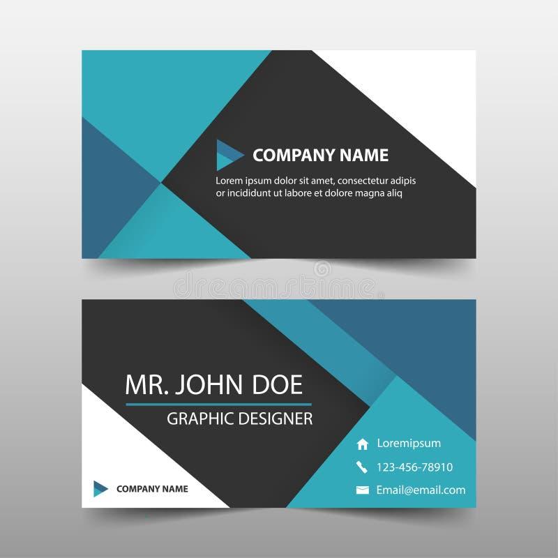 蓝色公司业务卡片,名片模板,水平的简单的干净的布局设计模板,企业横幅模板 库存例证