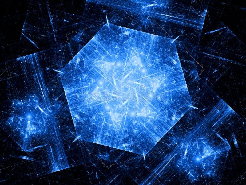 蓝色六角对象,纳米技术 库存图片