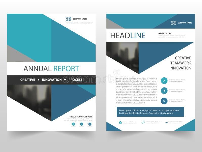 蓝色六角形企业小册子传单飞行物年终报告模板设计,书套布局设计 库存例证
