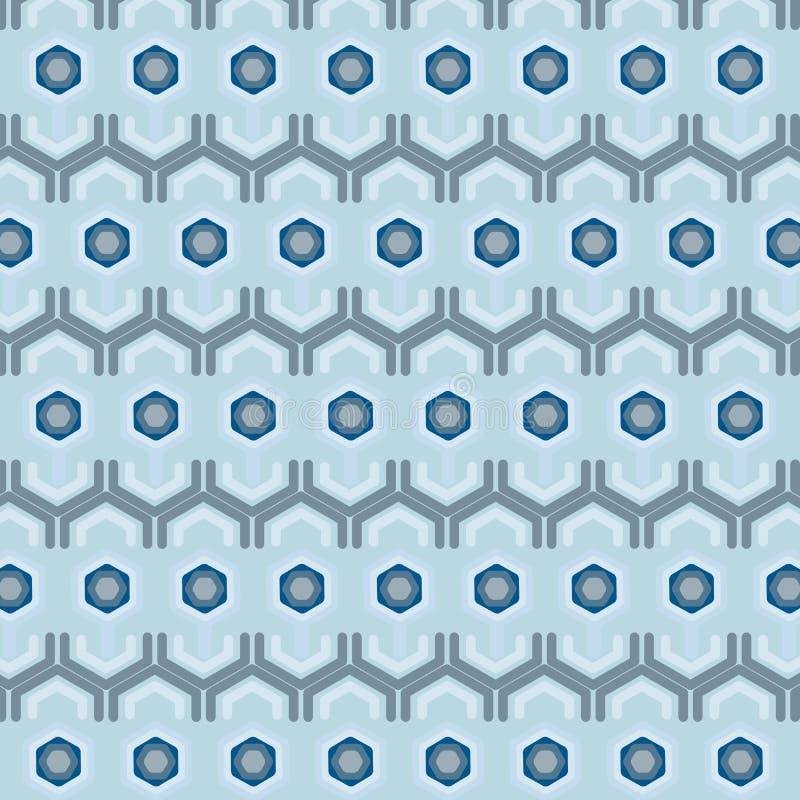 蓝色六角形创造性的无缝的样式 库存例证