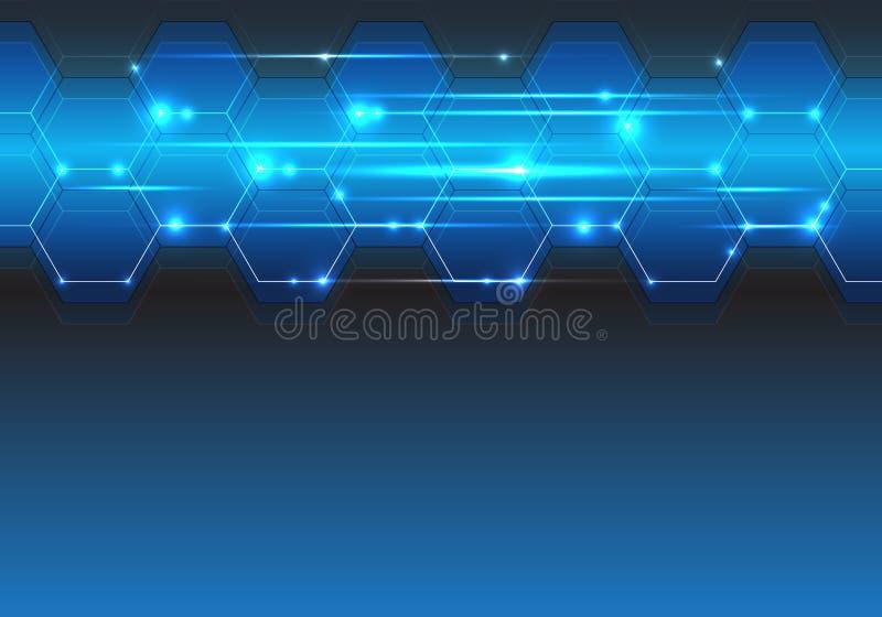 蓝色六角形线文本地方设计现代创造性的背景传染媒介的光技术未来派空白 皇族释放例证