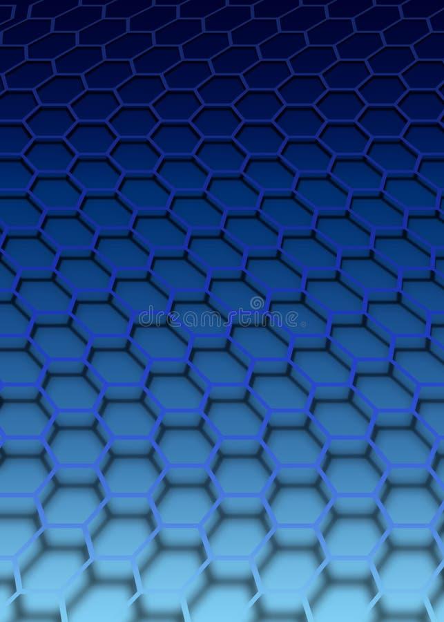 蓝色六角形 向量例证