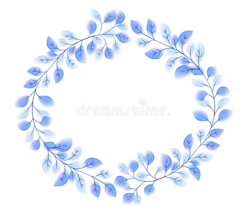 蓝色典雅的传染媒介叶子缠绕围绕在水彩样式的框架 向量例证