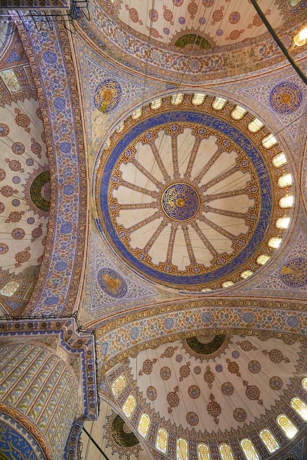 蓝色内部伊斯坦布尔清真寺火鸡 库存图片