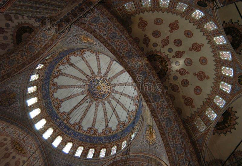 蓝色内部清真寺 图库摄影