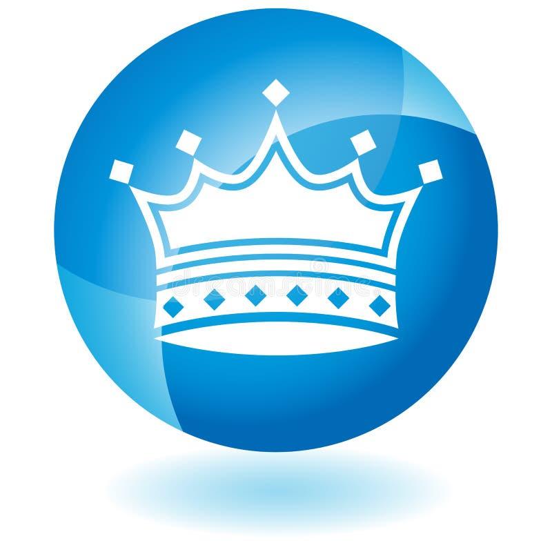 蓝色冠图标 库存例证