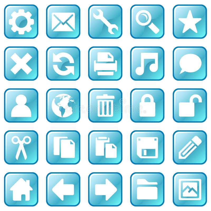 蓝色冰图标 库存例证