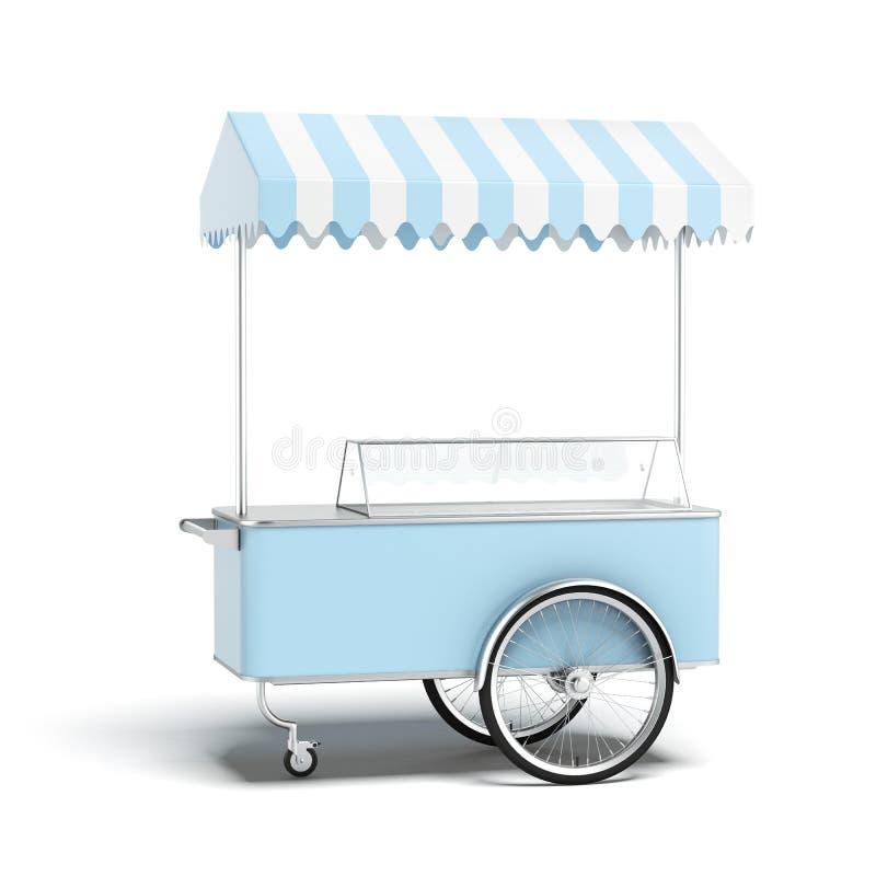 蓝色冰淇凌推车 向量例证