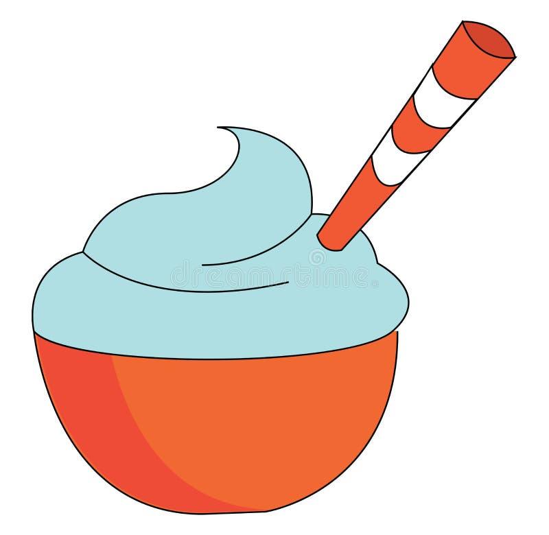 蓝色冰淇淋矢量图或彩色插图 库存例证