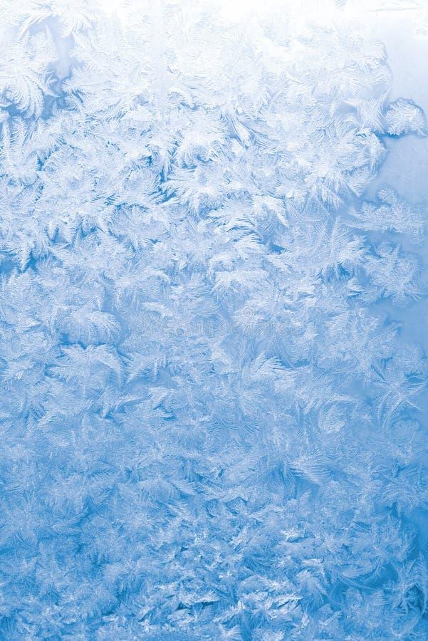 蓝色冻结的玻璃轻的视窗 库存图片