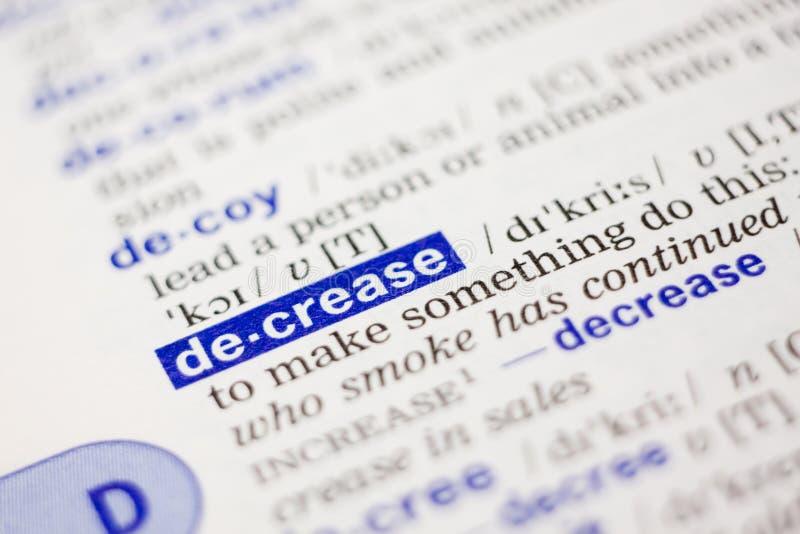 蓝色减少定义词典字 库存图片