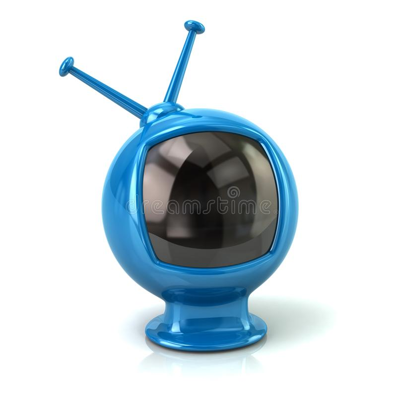 蓝色减速火箭的电视3d例证 皇族释放例证