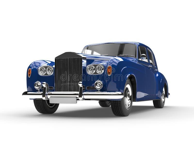 蓝色减速火箭的葡萄酒汽车 皇族释放例证