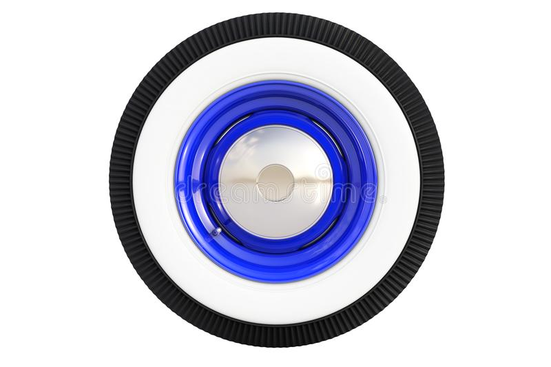 蓝色减速火箭的轮子 3d回报 皇族释放例证