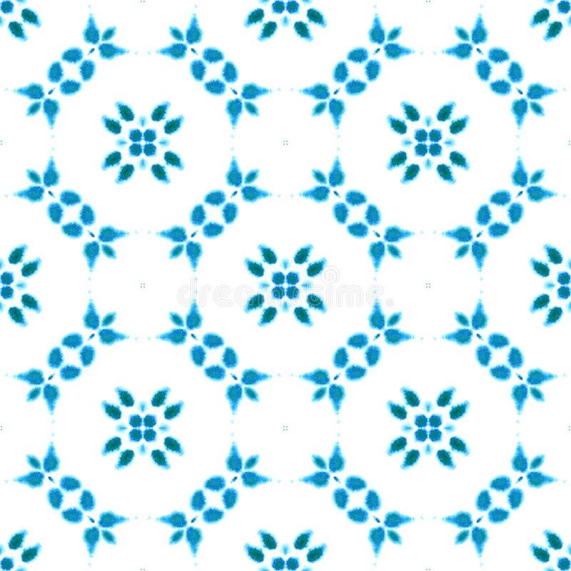 蓝色几何水彩 无缝的模式 表面装饰品 免版税库存图片