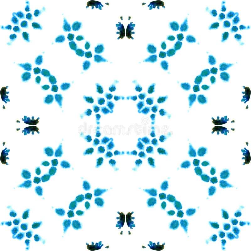 蓝色几何水彩 无缝的模式 表面装饰品 库存照片