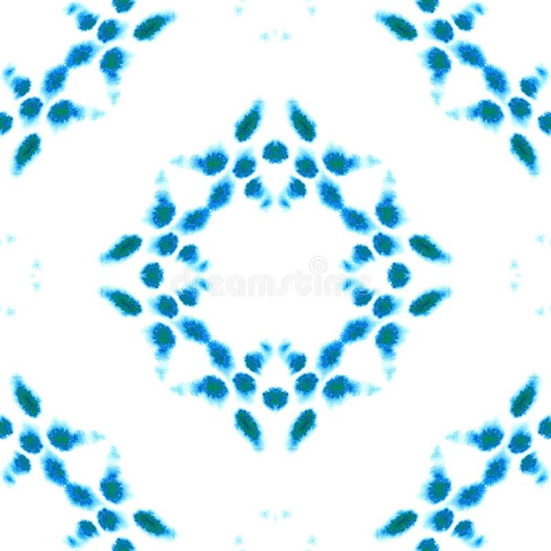 蓝色几何水彩 无缝的模式 表面装饰品 免版税库存照片