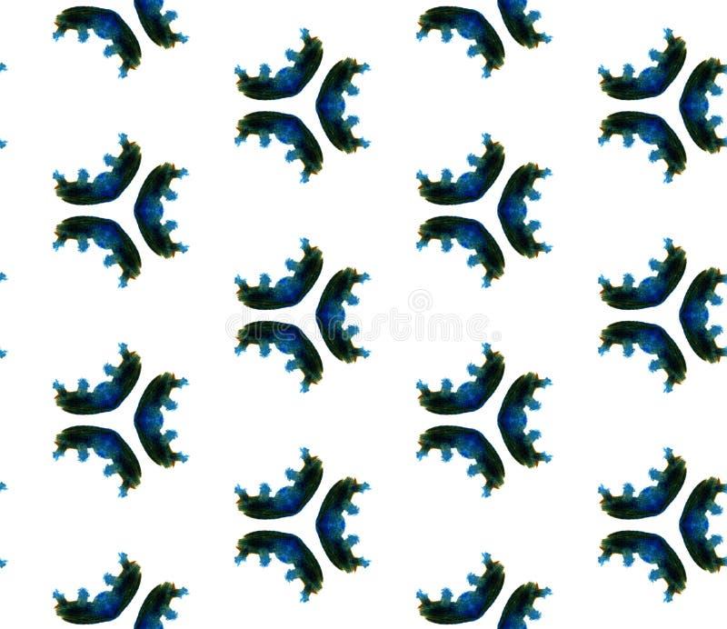 蓝色几何水彩 无缝的模式 表面装饰品 图库摄影