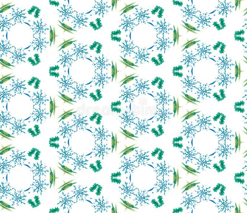 蓝色几何水彩 无缝的模式 表面装饰品 免版税图库摄影