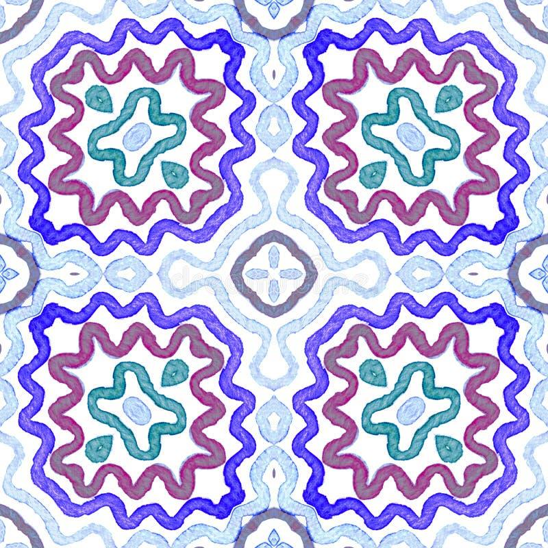 蓝色几何水彩 无缝逗人喜爱的模式 手拉的条纹 刷子纹理 对称车公 免版税库存图片