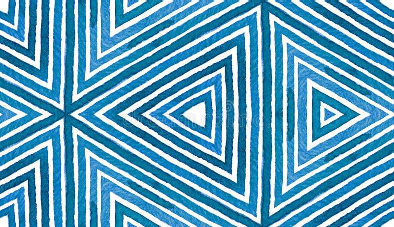 蓝色几何水彩 无缝逗人喜爱的模式 手拉的条纹 刷子纹理 洁净的Chev 免版税库存照片