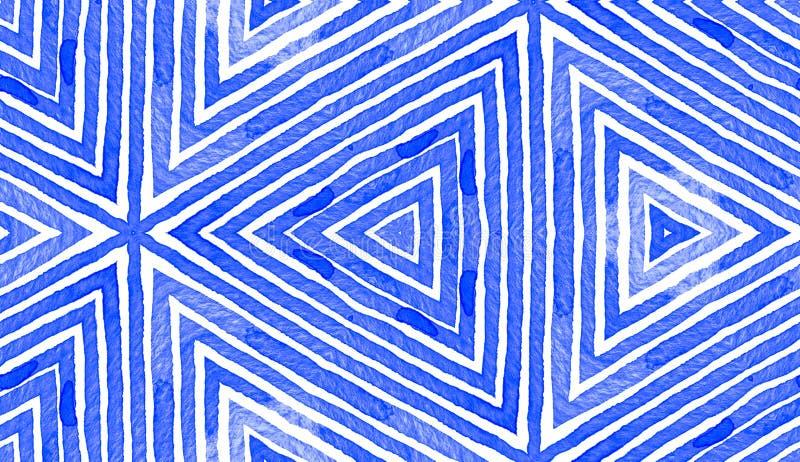 蓝色几何水彩 无缝逗人喜爱的模式 皇族释放例证