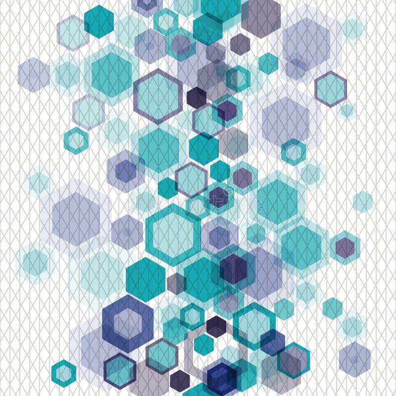 蓝色几何背景withhexagons和净额 皇族释放例证