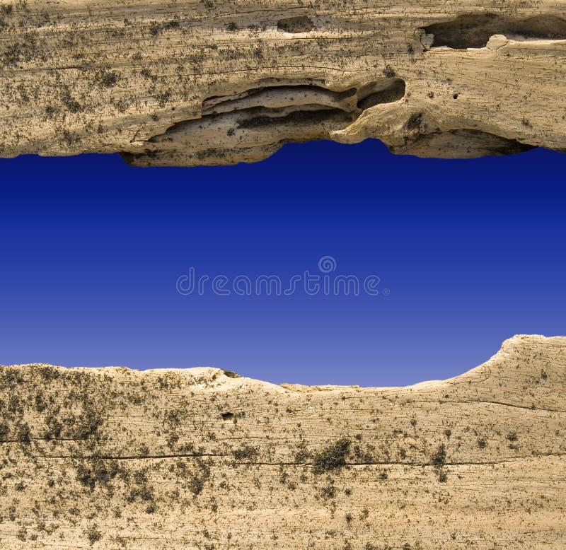 蓝色分切器漂流木头天空 皇族释放例证