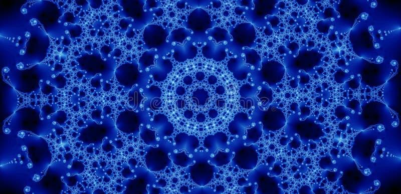 蓝色分数维发光 向量例证