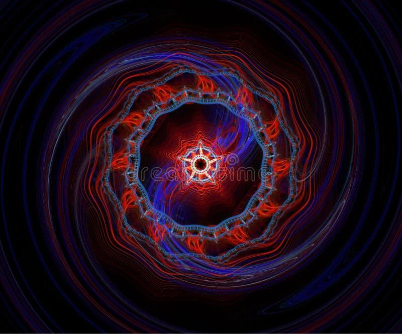 蓝色分数维红色螺旋 向量例证