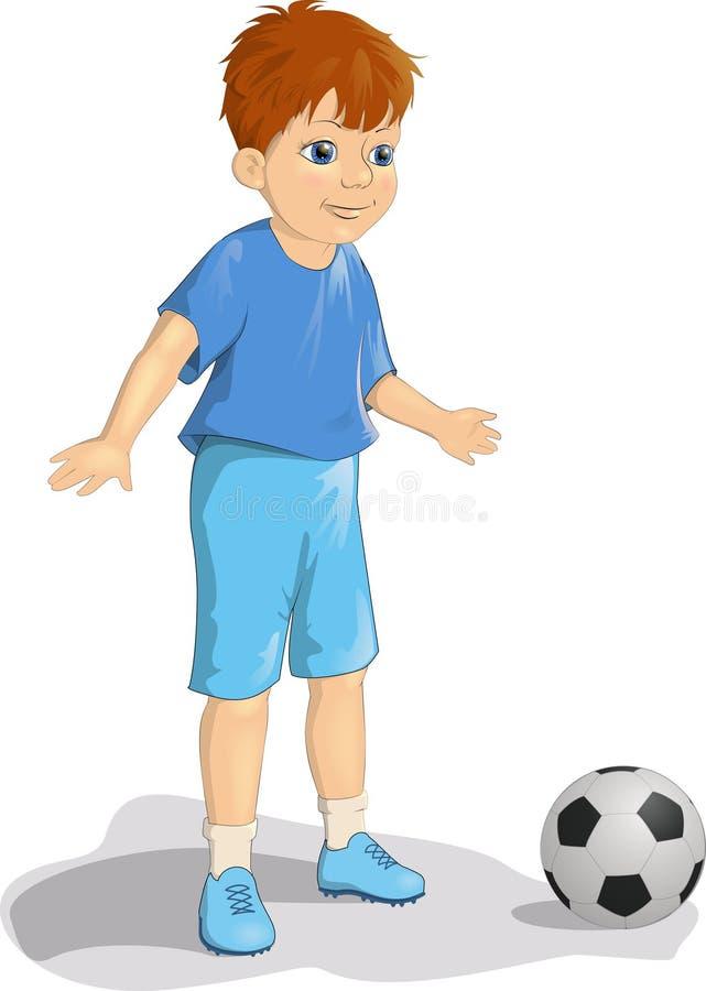 蓝色制服的帅小男童足球或足球运动员用球动画矢量图插图 皇族释放例证