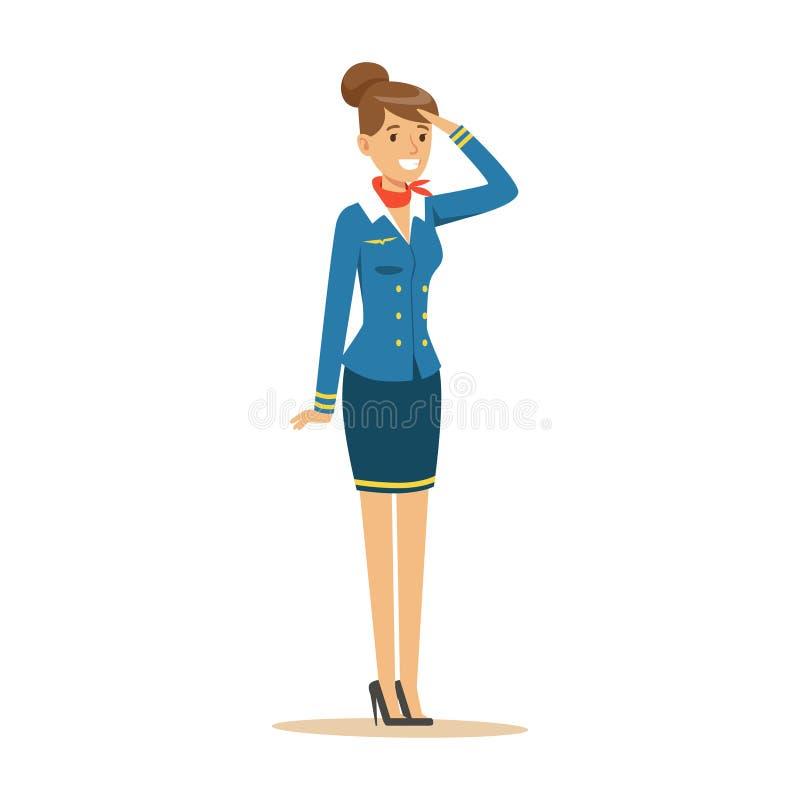 蓝色制服的年轻微笑的空中小姐 库存例证