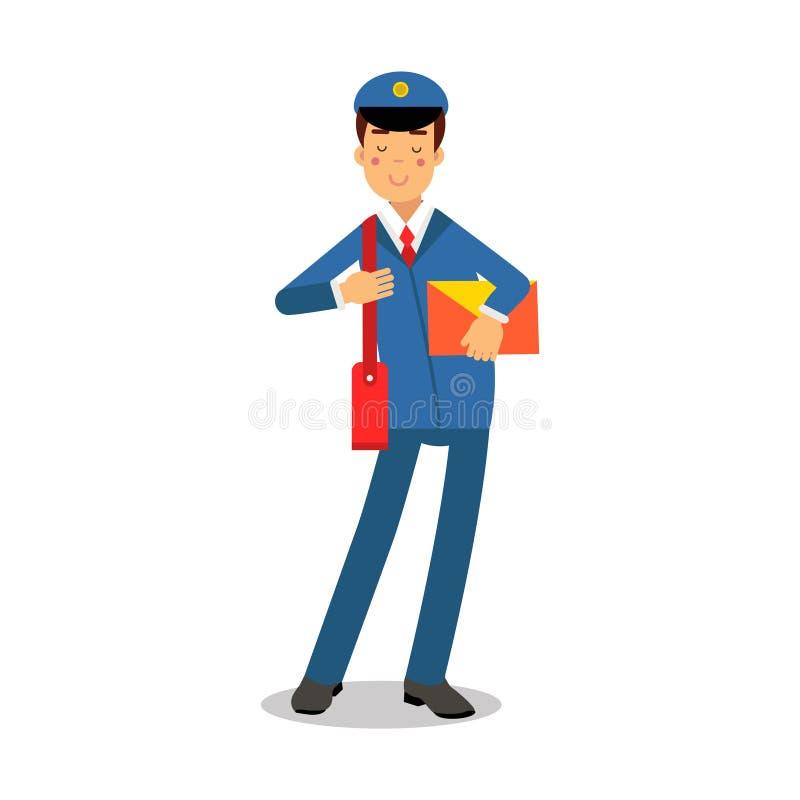 蓝色制服的快乐的邮差有拿着黄色信封漫画人物,快递邮件传染媒介的红色袋子的 向量例证