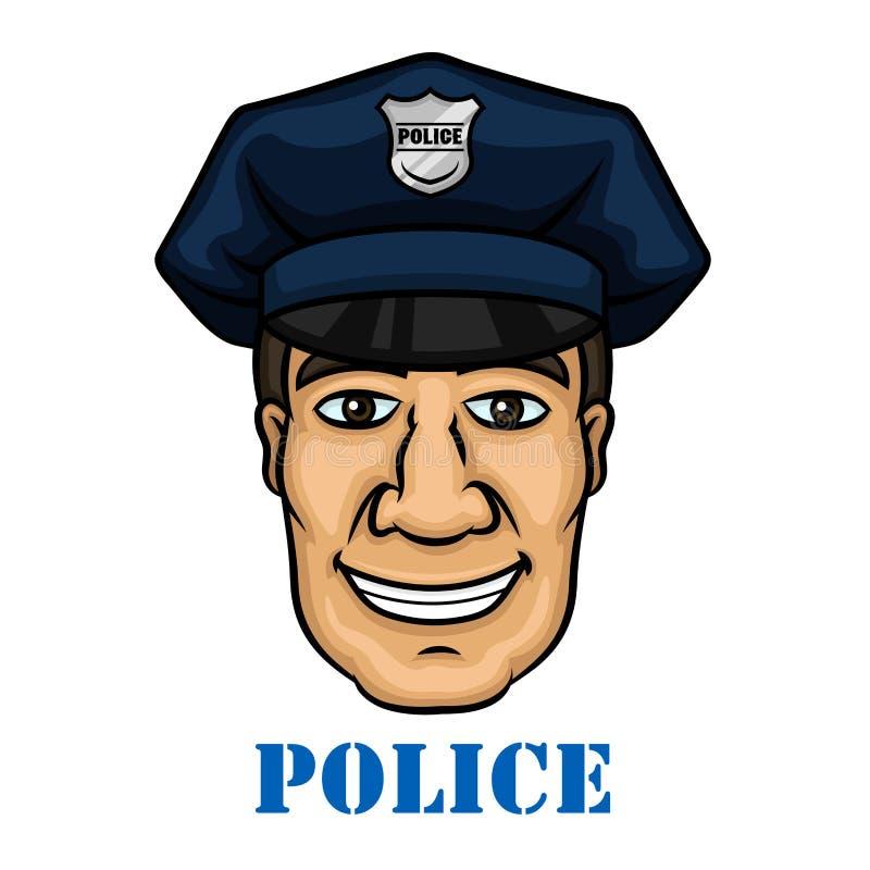 蓝色制服的愉快的警察 库存例证